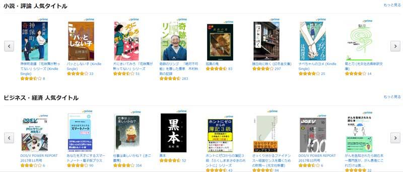 Prime Reading作品リスト・小説・評論・ビジネス・経済